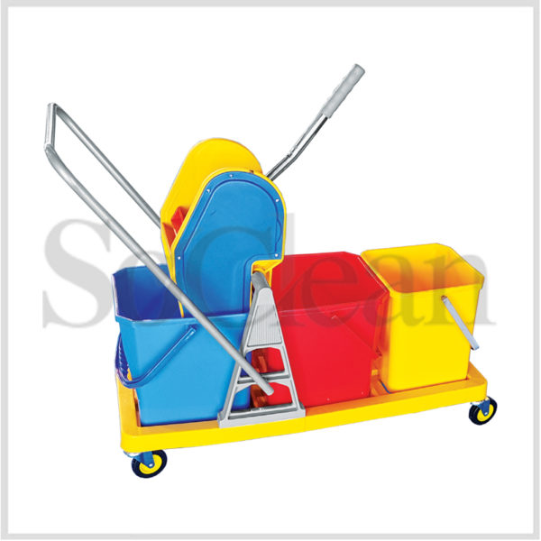 Wringer Mop Trolleys - Triple Bucket 48ltrs.